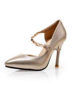 Milanoo.com - milanoo.com Gold High Heels Pointed Toe Buckled Mary Jane Shoes For Women - AdoreWe.com