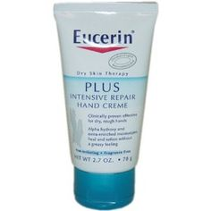 Eucerin Dry Skin Therapy Plus Intensive Repair Hand Creme.  Dry skin therapy. Dermatologist recommended. Clinically proven effective for dry, rough hands. Alpha hydroxy and extra-enriched moisturizers heal and soften without a greasy feeling. Non-irritating. Fragrance free. Your hardworking hands can be so dry that they crack. The Solution? Eucerin Plus Intensive Repair Hand Creme with alpha hydroxy gently exfoliates dry, damaged skin while intensive moisturizers- your skin protected and…