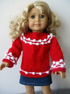 """Ravelry: shtuchka's Christmas version of Starry Night sweater for 18"""" doll"""