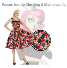 Ladies Dress - H&R Red Floral Dianna – PoisonKandyKlothing