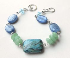 Blue Green Beaded Gemstone Silver Bracelet Kyanite by dianedesign, $29.50