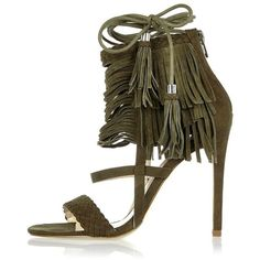 39bf9464c99de8 River Island Khaki suede fringed stiletto heels ( 116) ❤ liked on Polyvore  featuring shoes