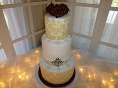 Here is Christy's wedding cake the Jewelry is completely edible and all this is done in butter cream.