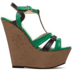 5bc7f03f0134 ShoeDazzle Wedge Tabatha Womens Green ❤ liked on Polyvore featuring shoes
