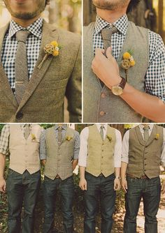 Eric in tie and jacket, groomsmen in vest/suspenders. Gingham pattern shirt with dark wash jeans