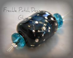 Lampwork Glass Bead with Fine Silver by FrecklePatchGlass on Etsy, $4.00