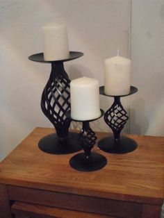 Quality Wrought Iron (Forged Steel) Set of Candle Holders & Candles