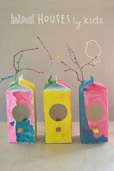 kids make this simple bird house craft from milk cartons