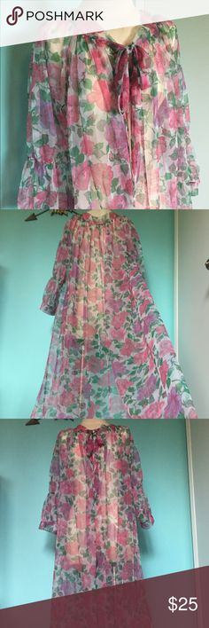 Vintage pink floral robe dressing gown Nightie Super love this amazing sheer pink floral vintage LeVoy's robe! This is from my personal collection but I just don't wear it that much. I know somebody out there will love to float around the house in this! Sleeves have great multiple gather details and neck ties at the front for a free size fit. Super long and flowy with minor/average vintage wear. Very girly and feminine!!! Vintage Intimates & Sleepwear Robes