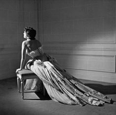 1950 - Maxime de la Falaise in Christian Dior Dress, photographed by Willy Maywald
