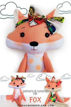 PDF Fox Sewing Pattern and Tutorial Using this easy PDF sewing tutorial you will easily make your own Fox cloth doll from Woodland animal friend edition that will not only act as a comforter for your baby boy or girl, but it will bring joy and smiles every day. #PDFFoxSewingPatternandTutorial #WoodlandStuffedAnimal #epattern #DIYDollCloth #DollToyFox #PatternEasy #InstantDownload Doll Sewing Patterns, Sewing Tutorials, Sewing Projects, Sewing Dolls, Diy Projects, Plush Dolls, Doll Toys, Stuffed Animal Patterns, Stuffed Animals