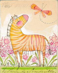 orange zebra painting, illustration, print  8 x 10  by corid on Etsy, $20.00 so adorable