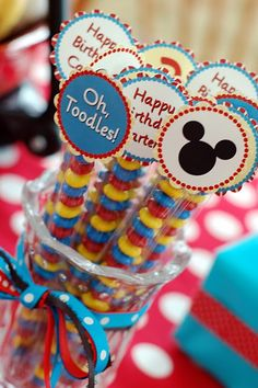 "Mickey Mouse ""Two""dles Birthday Party Year Old Birthday Party Ideas}} We've got Ears, Say Cheers! Your two year old will love this ""Two""dle themed Mickey… Mickey Mouse Favors, Mickey Mouse Bday, Mickey Mouse Clubhouse Birthday Party, Mickey Mouse Parties, Mickey Party, Mickey Mouse Birthday, Disney Parties, Elmo Party, Elmo Birthday"