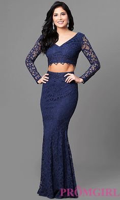 Long Navy Two-Piece Lace Prom Dress with Long Sleeves