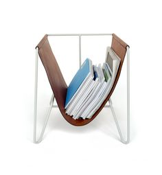 Magazine Rack in Pale Gray with Saddle Tan Horween® Leather – Made in USA