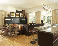 Beautiful Hickory hardwood floors!  Love this look of this room!