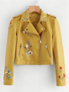 To find out about the Botanical Embroidered Zipper Detail Faux Leather Biker Jacket at SHEIN, part of our latest Jackets ready to shop online today! Colorful Leather Jacket, Coloured Leather Jacket, Vegan Leather Jacket, Faux Leather Jackets, Embroidered Leather Jacket, Jugend Mode Outfits, Floral Jacket, Casual, Jackets For Women