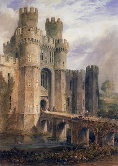 Herstmonceux Castle is a brick-built Tudor castle in East Sussex, England by John Chessell Buckler Fantasy City, Fantasy Castle, Fantasy Places, Fantasy World, Chateau Medieval, Medieval Castle, Medieval Fantasy, Medieval Fortress, Castle Painting