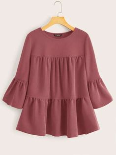 To find out about the Bell Sleeve Smock Top at SHEIN, part of our latest Blouses ready to shop online today! Stylish Dress Designs, Designs For Dresses, Stylish Dresses, Teen Fashion Outfits, Casual Outfits, Fashion Dresses, Muslim Fashion, Hijab Fashion, Kurti Designs Party Wear