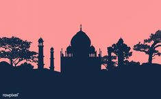 Silhouette of the Taj Mahal vector | free image by rawpixel.com / sasi Vector Can, Vector Free, Image Sites, Free To Use Images, Best Stocks, Free Illustrations, Taj Mahal, Silhouette, Sunset
