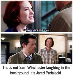 Charlie and Cas<3 Supernatural Sam Winchester Jared Padalecki First time Charlie Bradbury meets Castiel Felicia Day Misha Collins