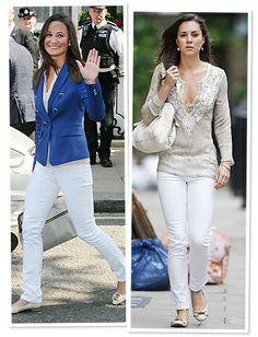 Kate and Pippa Middleton: Style Twins  Getting-Around-Town Option: White Denim