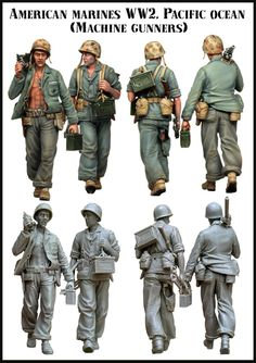 Us Marine .30 cal machine gun team marching in the Pacific Theatre WWII. 1/35 scale resin figures from Evolution Miniatures. $36