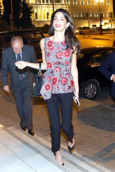 Amal Alamuddin Clooney leaving a villa after a very important meeting with Greece's Minister of Culture Konstantinos Tasoulas
