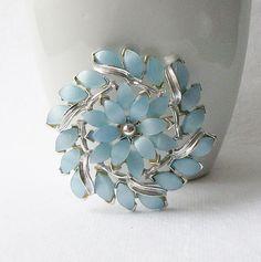 Vintage Blue Rhinestone Flower Brooch something by VintageSundries