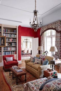 Terrific Red Country Living Room in Country Style Living Rooms. A red living room and library with white bookcase & floral curtains. Country style living room ideas for furniture and decor. Red Living Room Decor, Country Style Living Room, New Living Room, Living Room Interior, Living Room Designs, Living Room Furniture, Country Kitchen, Funky Home Decor, Red Rooms