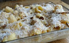 Baked pasta with cheese and roasted  cauliflower