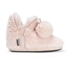 Pastel pink fuzzy slipper bootie with a faux fur interior, exterior, and decorative pompoms.