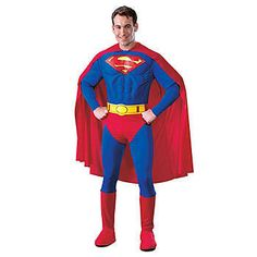 Fly to the rescue in this Superman Adult Halloween Costume #Halloween Look like the true definition of a super hero in this Superman Adult Halloween Costume which includes a muscle chest jumpsuit with attached boot tops and belt as well as a cape.