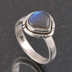 BLUE FIRE LABRADORITE 925 SOLID STERLING SILVER FASHION RING 4.26g DJR6388 #Handmade #Ring