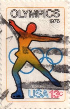 US postage stamp, 13 cents.  Olympics. Skating.  Issued 1976.  Scott catalog 1698.