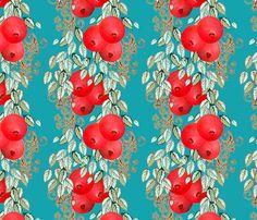 Pomegranate Stripe larger fabric by joanmclemore on Spoonflower - custom fabric