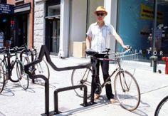 David Byrne with custom bike rack