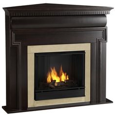 @Overstock.com - Mt. Vernon Real Flame Dark Walnut Ventless Gel Corner Fireplace - Enjoy the crackle and ambiance of a Real Flame Fireplace.  Inspired by the fireplace on the first floor bedroom of the Mt. Vernon mansion, this masculine mantel boasts a unique curved center panel and detailed dentil molding.  http://www.overstock.com/Home-Garden/Mt.-Vernon-Real-Flame-Dark-Walnut-Ventless-Gel-Corner-Fireplace/7348068/product.html?CID=214117 $409.99