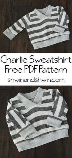 Charlie Sweatshirt - FREE PDF pattern and tutorial, size 6-12M