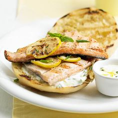 Lemon & Herb Grilled Trout Sandwich Basil mayonnaise and grilled lemon slices brighten this quick and easy trout sandwich. Supper Recipes, Quick Dinner Recipes, New Recipes, Healthy Recipes, Quick Meals, Trout Recipes, Seafood Recipes, Grilling Recipes, Chicken Recipes