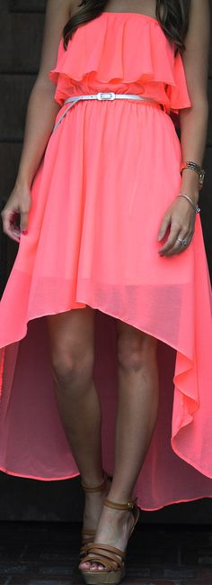 Take Me Anywhere Dress: Neon Pink #strapless #neon #dress