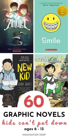 The Best Graphic Novels for Kids | Imagination Soup 5th Grade Reading, Kids Reading, Reading Activities, Library Activities, Close Reading, Reading Resources, Reading Books, Guided Reading, Reading Lists