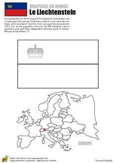 A colorier, le drapeau de Liechtenstein et la carte de l'Europe