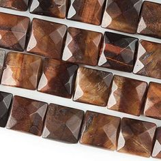 """Red Tiger's Eye, 10mm Faceted Squares, 8"""" Strand, 7TE62-0001"""