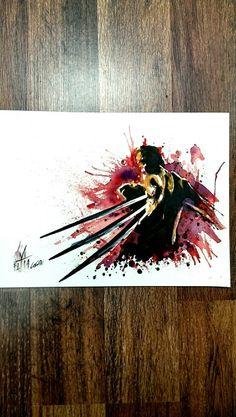 Wolverine in watercolor