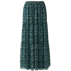 UNIQLO Print Tiered Maxi Skirt (44 TND) ❤ liked on Polyvore featuring skirts, patterned maxi skirt, long blue skirt, floor length skirts, long evening skirts and holiday skirts