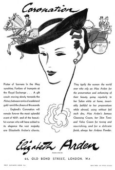 Elizabeth Arden Coronation advertisement, 1937. #vintage #1930s #cosmetics #ads