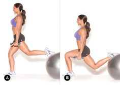 Fit Friday Challenge! Repin if you're in. Add the Stability Ball Split Squat to your routine this weekend. 2 sets of 15 reps with dumbbells, keeping your knee behind your toes as you bend. #fitfriday