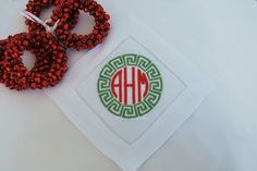 Monogrammed Linen Coaster Set of 6, Original Design, Holiday Greek Key by AsForMe on Etsy