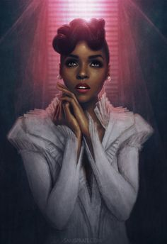 """samspratt:  """"Janelle Monáe: Billboard's Rising Star Of The Year"""" - Illustration by Sam Spratt To celebrate her huge achievement and after working with me on her last album covers, Atlantic Records commissioned me to paint this portrait of Janelle in the same vein."""